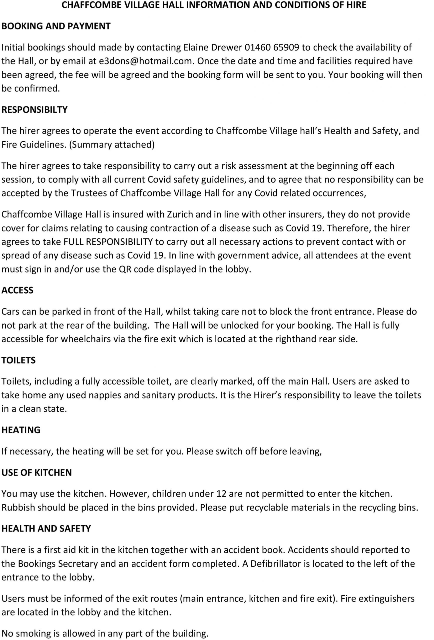Hall Hiring Conditions